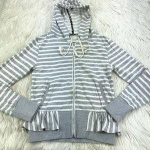 Saturday Sunday Striped Peplum Zip Hoodie Anthro